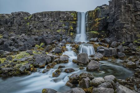 Waterfall and river in Iceland 免版税图像
