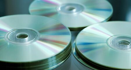 recordable media: blue CD, DVD, Blue Ray stack