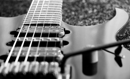 black and white vintage electric guitar