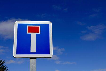 r regulation: French dead end street road sign on blue sky