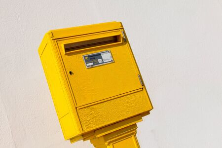 letter box: yellow letter Box in the street