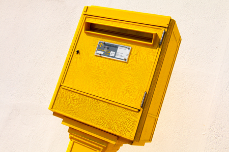 yellow letter Box in the street