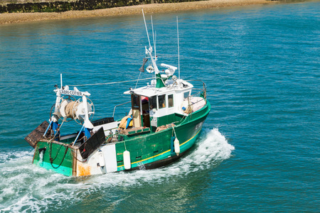 les Sables d Olonne, France - July 24, 2016 : a fishing boat returns to port