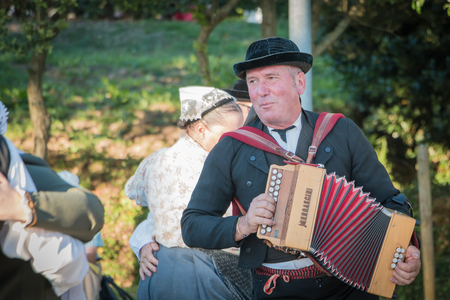 vendee: Brem sur Mer, France - July 09, 2016 : accordionist during a performance of a traditional dance troupe Vendee region of France, celebrating a wedding Editorial