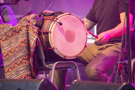 percussionist: Brem sur Mer, France - July 12, 2016 : percussionist during a free concert of the group Ndiaz offered by the city for the summer tourists Editorial