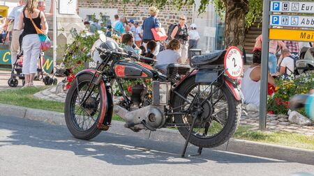 plunges: Challans, France - August 11, 2016 : event Once Challans Autrefois Challans organized by the city and plunges visitors into the city from the early 20th century - motorcycle collection 1928 presented in a retro event