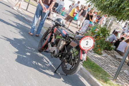Challans, France - August 11, 2016 : event Once Challans Autrefois Challans organized by the city and plunges visitors into the city from the early 20th century - motorcycle collection 1928 presented in a retro event