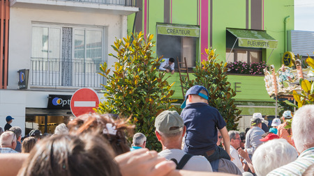 Challans, France - August 11, 2016 : event Once Challans Autrefois Challans organized by the city and plunges visitors into the city from the early 20th century - simulation of an apartment on fire and firemen intervention