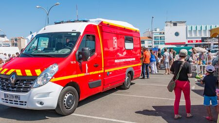 Saint Gilles Croix de Vie, France - August 14, 2016 : intervention of a fire truck after the discomfort of a man in the port of Saint Gilles Croix de Vie, France