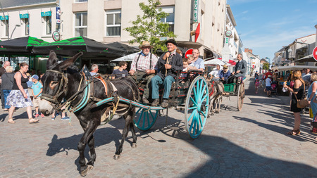 plunges: Challans, France - August 11, 2016 : event Once Challans Autrefois Challans organized by the city and plunges visitors into the city from the early 20th century - antique cart pulled by a donkey in the streets of the city Editorial