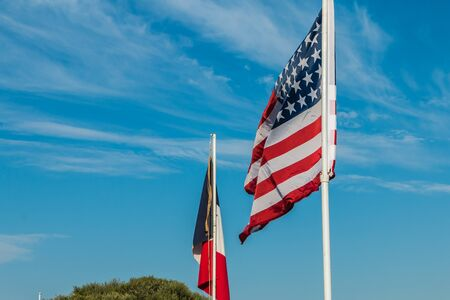 reconstituted: american and french flags in a reconstituted military camp Stock Photo