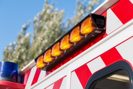 beacon close up on an french ambulance firefighters Stock Photo