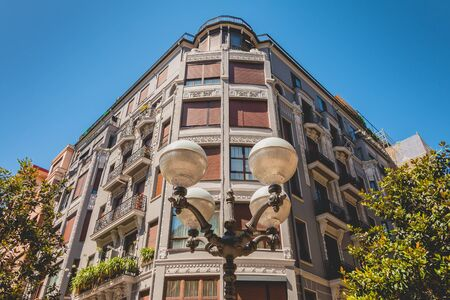 traditional building facade with shutter in Bilbao, Spain