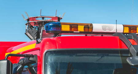 Close-up on the flashing lights of an extrication vehicle