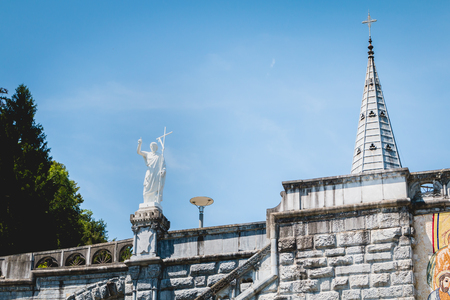 Detail of the architecture of the basilica of the sanctuary of Lourdes, France