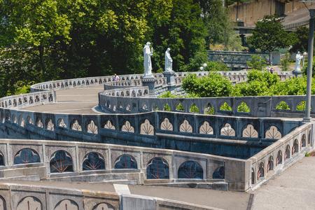 Lourdes, FRANCE, June 22, 2017 - Detail of the architecture of the basilica of the sanctuary of Lourdes, France