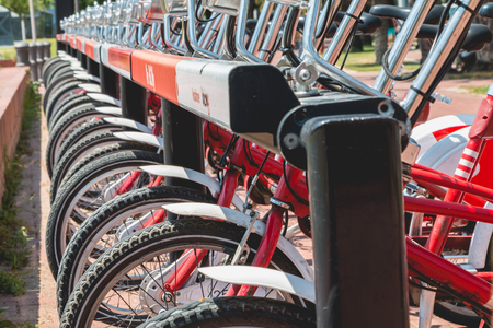 shared sharing: BARCELONA, SPAIN - june 21, 2017: Service Vehicles bicycles Vodafone Bicing. Bicing is the name of a bicycle sharing system in Barcelona inaugurated on March 22, 2007.