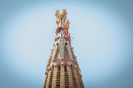 Detail of architecture of the Sagrada Familia, a wide Roman Catholic church designed by Catalan architect Antoni Gaudi