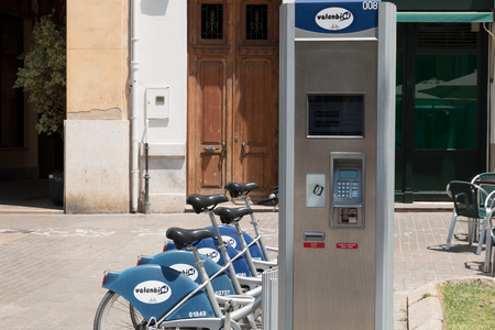 shared sharing: VALENCIA, SPAIN - june 21, 2017: Service Vehicles bicycles Vodafone Bicing. Bicing is the name of a bicycle in Barcelona inaugurated on March 22, 2007.
