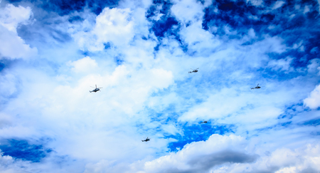 Paris, FRANCE - july 11, 2017: Air Force helicopters overflies the French capital in order to train for the parade of 14 July, the French national day