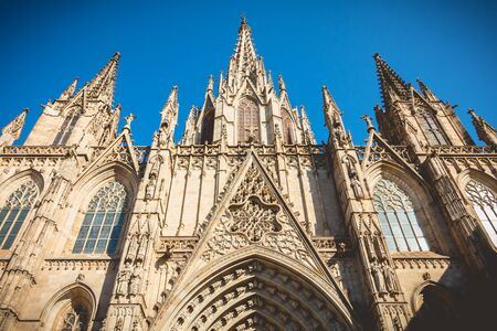 detail of architecture of the cathedral of Barcelona, Spain