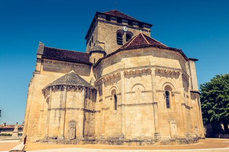 Detail of architecture of the church Saint Martin in Montagne, a small French town near Saint Emilion in summer