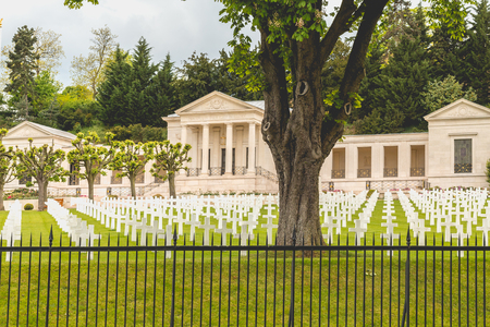 normandy: SURESNES, FRANCE - May 02, 2017 : white cross alignment in the American military cemetery of Suresnes, near Paris, France