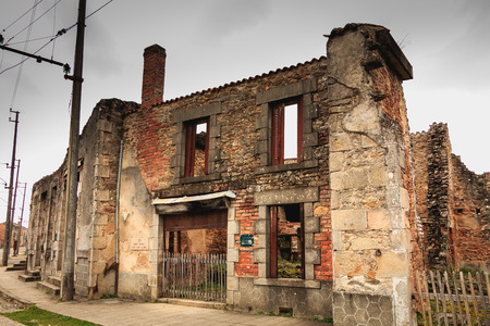 ORADOUR SUR GLANE, FRANCE - December 03, 2017 : remains of a bakery destroyed by fire during the massacre of the population of the vilage by the German army on June 10, 1944