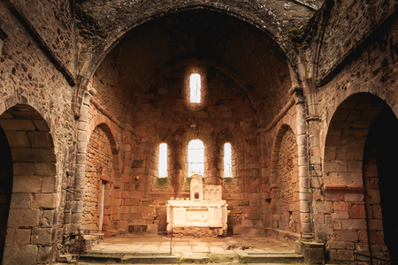 ORADOUR SUR GLANE, FRANCE - December 03, 2017 : remains of the interior of the church destroyed by fire during the massacre of the population of the vilage by the German army on June 10, 1944.