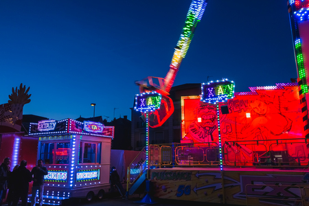 SABLES D OLONNE, FRANCE - November 27, 2016: In a traditional funfair, the EXTAZY thrill ride manufactured by Mondial Rides