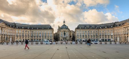 Bordeaux, France - January 26, 2018 : Architectural Detail Of The famous Place De La Bourse on a winter day Redakční