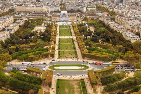 Paris, France - October 08, 2017 : aerial view of the park the Champ de Mars where people walk one autumn day