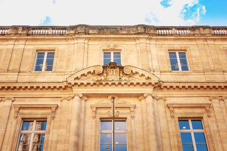Bordeaux, France - January 26, 2018 : Architecture of the facade of law university in the city center on a winter day