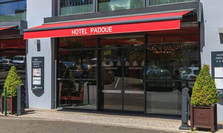 Lourdes, France - June 22, 2017 : example of a luxury hotel to welcome pilgrims in the center of Lourdes. Here the hotel Padoue on a summer day Editorial