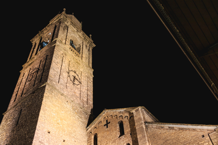 night architecture detail of the Romanesque basilica Saint Jacob built between the XIth and XIIth centuries in Bellagio, Italy Stock Photo