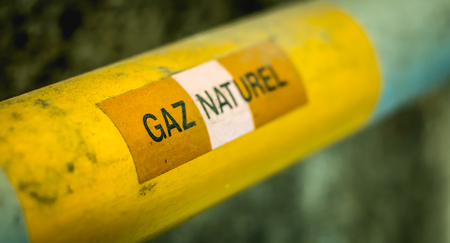 yellow gas pipeline on which is written in French - natural gas in france Stock Photo