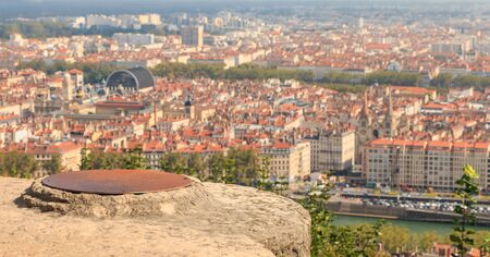 aerial view of Lyon city, France on a fall day Stock Photo