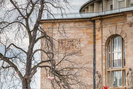 Freiburg im Breisgau, Germany - December 31, 2017: Architecture detail of the Freiburg Theater on a winter day. Built by the architect Christoph Arnold, it opened in 1823