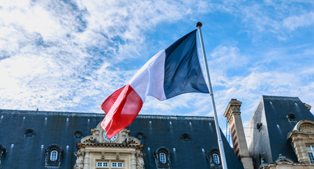 french flags flying in front of a building in France Archivio Fotografico - 100129362