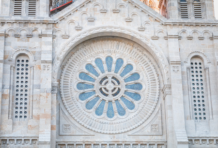 architectural detail of Santa Luzia basilica in Viana do Castelo in northern Portugal on a spring day