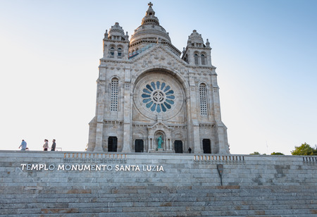 Viana do Castelo, Portugal - May 10, 2018: Architectural detail of Santa Luzia Basilica, in northern Portugal on a spring day