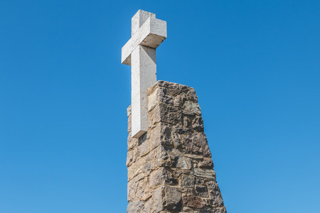 Architectural detail of the Cabo da Roca cross in Portugal, the westernmost point of the European continent