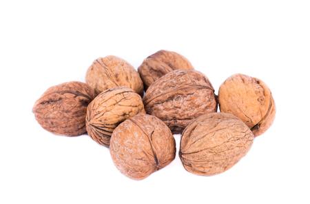 group of seasonal autumn nuts isolated on white background
