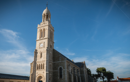 architectural detail of the exterior of the Church of St. Croix in Saint Gilles Croix de Vie, France
