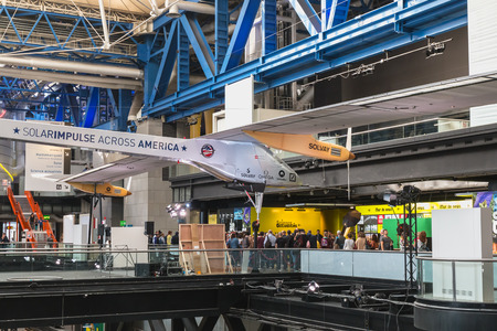 Paris, France - October 6, 2018: Exhibition of the famous Solar Impulse HB-SIA electric aircraft during the Science Fair 2018 in the hall of the City of Science and Industry Editorial