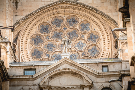 architectural detail of St. Mary's Cathedral of Toledo Stock Photo