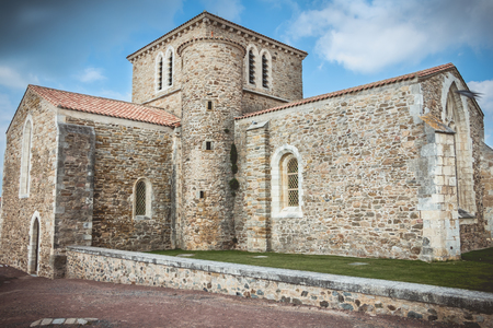 architectural detail of the priory Saint Nicolas in the city of Les Sables d Olonnes, France 版權商用圖片
