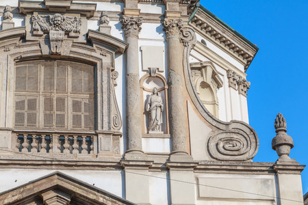 Architectural detail of the Roman Catholic Baroque San Giuseppe Church located in Milan, Italy
