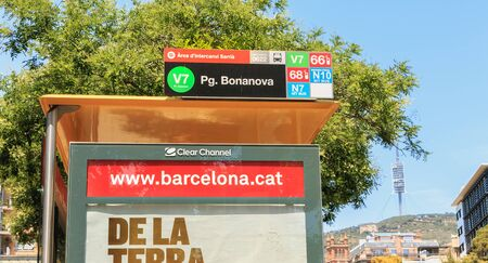 Barcelona, Spain - June 20, 2017: Bus station Pg. BonaNova in the suburbs of the city on a summer day