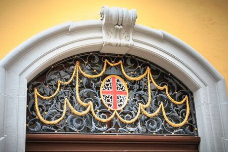 Freiburg im Breisgau, Germany - December 31, 2017: Detail of architecture in the historic city center on a winter day